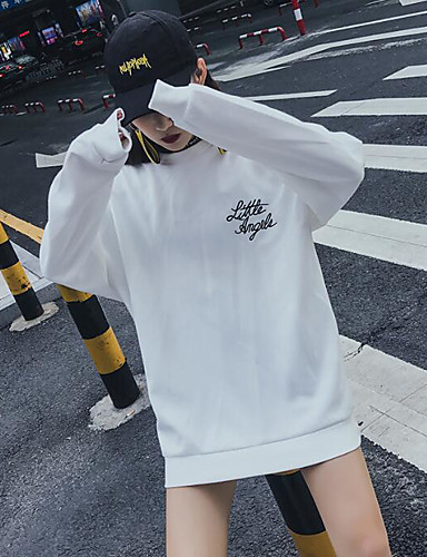 Damen Pullover Solide / Buchstabe Baumwolle
