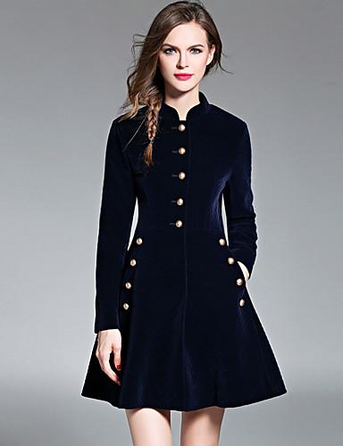 Damen Hülle Kleid-Ausgehen Solide Rundhalsausschnitt Übers Knie Langarm Kunstseide Hohe Taillenlinie Mikro-elastisch Mittel