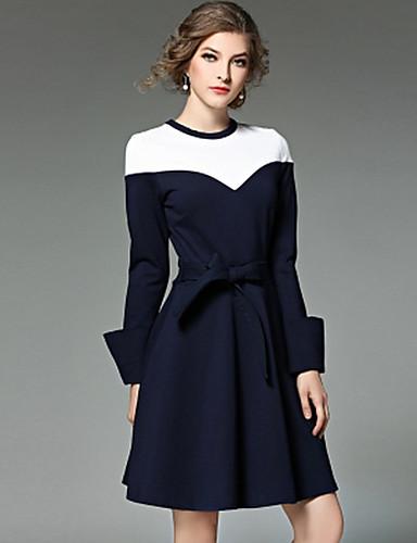 Damen Ausgehen Hülle Übers Knie Kleid Solide Einfarbig Rundhalsausschnitt Langarm Hohe Taillenlinie
