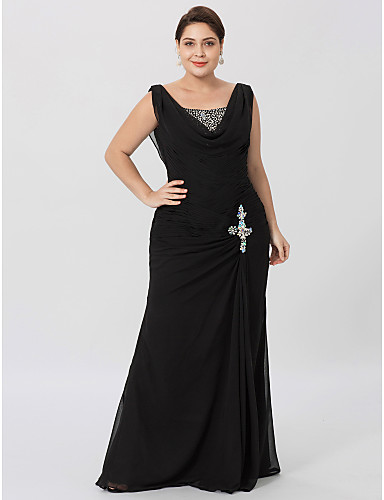 Sheath / Column Cowl Neck Floor Length Chiffon Mother of the Bride Dress with Beading Criss Cross by LAN TING BRIDE®