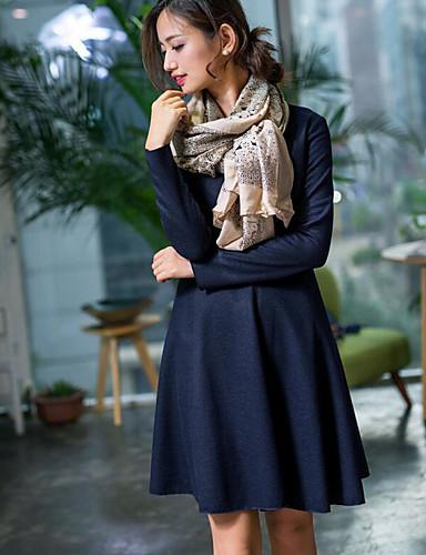 Damen Swing Kleid-Ausgehen Solide Rundhalsausschnitt Übers Knie Langarm Andere Mittlere Hüfthöhe Mikro-elastisch Undurchsichtig