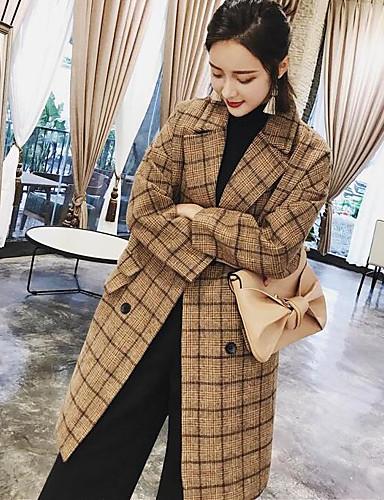Damen - Druck Einfach / Freizeit Mantel, Hemdkragen Baumwolle / Winter