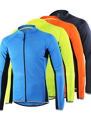 hesapli Bisiklet Formaları-Arsuxeo Erkek Uzun Kollu Bisiklet Forması Turuncu Açık Sarı Gri Siyah Bisiklet Forma Üstler Yansıtıcı çizgili Spor Dalları %100 Polyester Dağ Bisikletçiliği Yol Bisikletçiliği Giyim / Streç