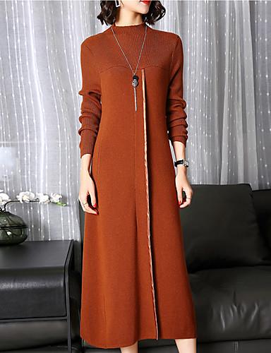 Damen Übergrössen Arbeit Street Schick / Boho Hülle Kleid Solide Midi