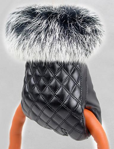 Damen Winterhandschuhe, PU Handgelenk-Länge Fingerspitzen Handschuhe Solide