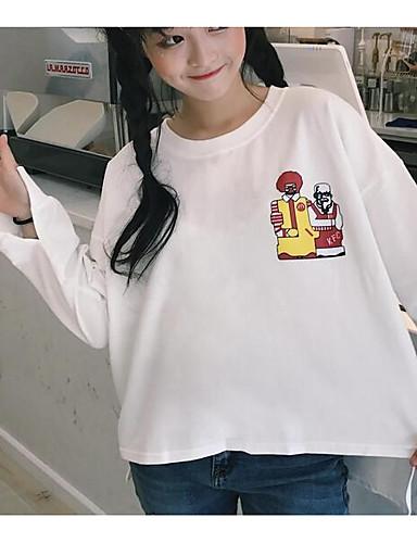 Damen Pullover Ausgehen Lässig/Alltäglich Solide Rundhalsausschnitt Mikro-elastisch Baumwolle Langarm Herbst Winter