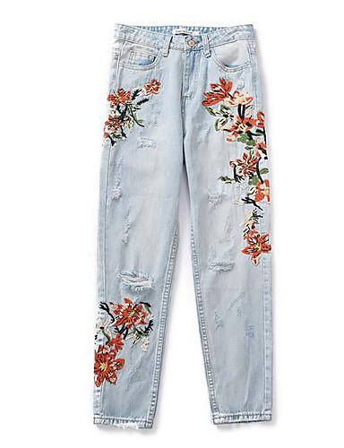 Damen Unelastisch Jeans Hose Stickerei