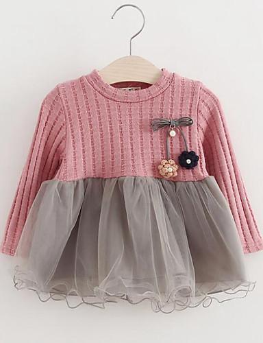 Mädchen Kleid Kunstseide Polyester Langarm