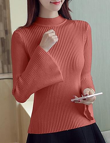 Damen Standard Pullover-Alltag Sexy Solide Ständer Langarm Polyester Mittel Dehnbar