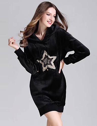 Damskie Moda miejska Pochwa Little Black T Shirt Sukienka - Haft Cekiny, Cekiny Wysoka Talia Przed kolano