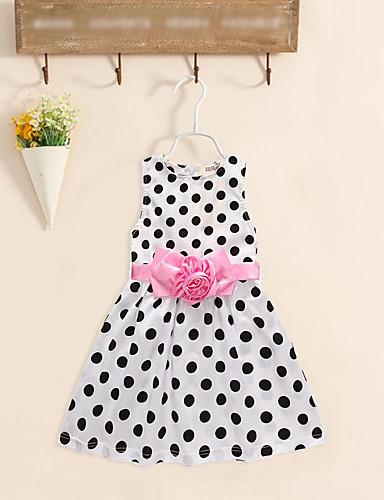 Sukienka Bawełna Poliester Dziewczyny Urodziny Urlop Jendolity kolor Okrągłe kropki Kwiat Bez rękawów Urocza Na co dzień Księżniczka