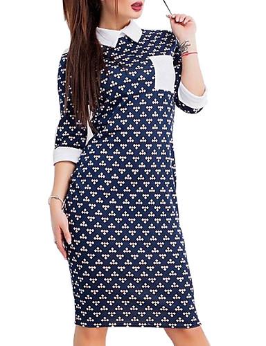 Damen Hemd Kleid-Ausgehen Lässig/Alltäglich Einfach Sexy Punkt Einfarbig Hemdkragen Knielang 3/4 Ärmel Polyester Mittlere Hüfthöhe
