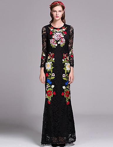 Damen Hülle Kleid Blumen Knielang Hohe Taillenlinie
