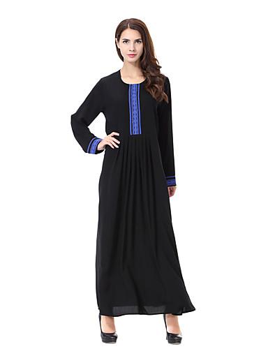 Damen Abaya Kleid-Lässig/Alltäglich Druck Rundhalsausschnitt Maxi Langarm Polyester Frühling/Herbst Mittlere Hüfthöhe Mikro-elastisch