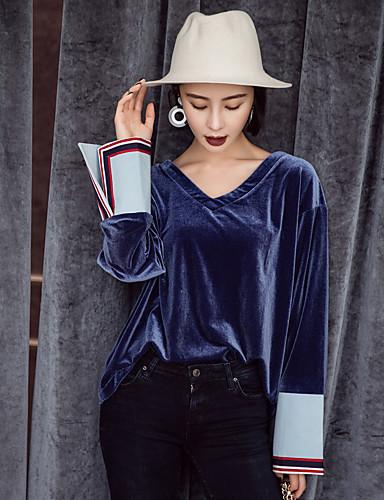 Damen Solide Retro Alltag Ausgehen T-shirt,V-Ausschnitt Langarm Polyester