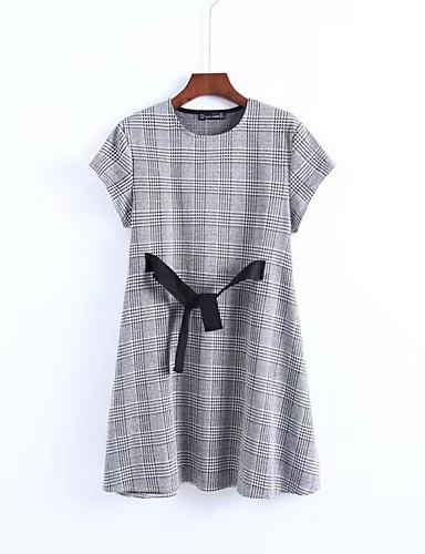 Damen Lose Kleid-Ausgehen Strand Solide Rundhalsausschnitt Übers Knie Kurzarm Baumwolle Andere Mittlere Hüfthöhe Mikro-elastisch Dünn