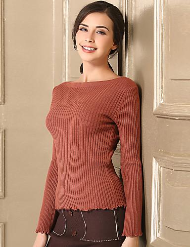 Damen Freizeit Aufflackern-Hülsen- Pullover - Solide
