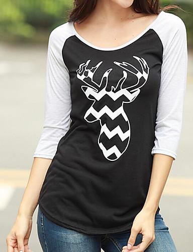 T-shirt-Damskie Moda miejska Inne-Okrągły dekolt Nadruk-Długi rękaw Bawełna