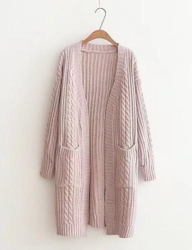 Damen Lang Strickjacke-Lässig/Alltäglich Ausgehen Solide V-Ausschnitt Langarm Baumwolle Mittel Dünn Mikro-elastisch