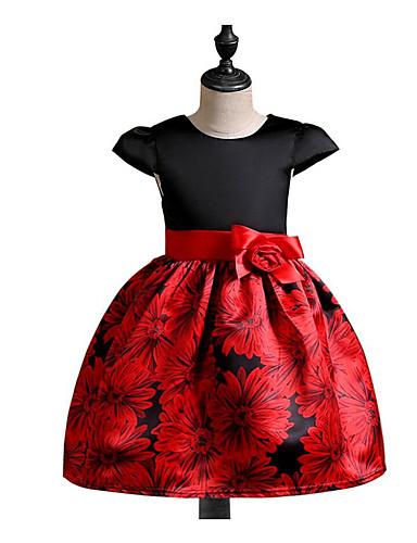 Sukienka Bawełna Poliester Dziewczyny Codzienny Wiosna, jesień, zima, lato Krótki rękaw Na co dzień Black