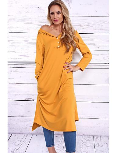 Damen T Shirt Kleid Solide Hohe Hüfthöhe
