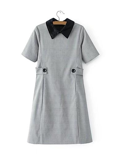 Damen Hülle Kleid-Lässig/Alltäglich Hahnentrittmuster Hemdkragen Knielang Kurzarm Andere Hohe Hüfthöhe Mikro-elastisch Mittel
