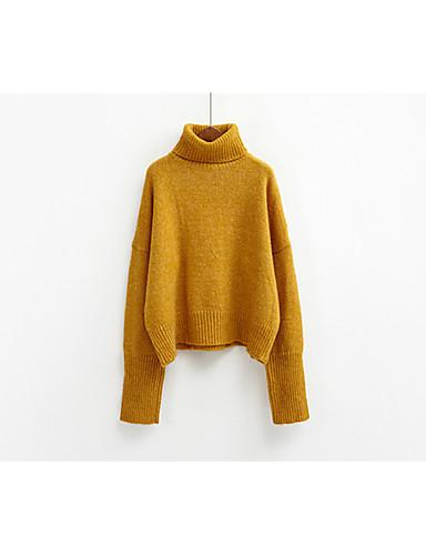 Damen Standard Pullover-Lässig/Alltäglich Solide Rollkragen Langarm Acryl Dick Dehnbar