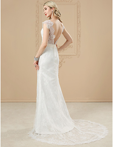 Mermaid / Trumpet V Neck Court Train All Over Lace Made-To-Measure Wedding Dresses with Beading / Appliques / Crystals by LAN TING BRIDE®