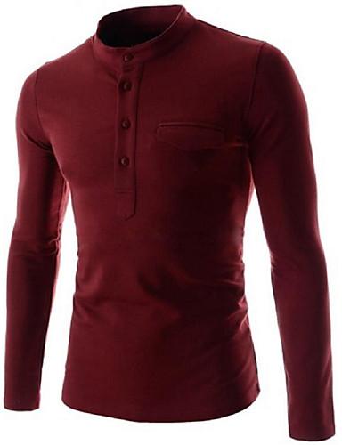 T-shirt Męskie Wzornictwo chińskie Bawełna Kołnierz stawiany Solidne kolory / Długi rękaw