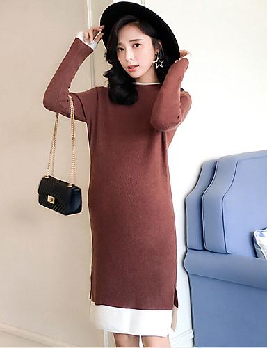 Damen Hülle Strickware Kleid-Lässig/Alltäglich Einfarbig Ständer Midi Langarm Acryl Mittlere Hüfthöhe Mikro-elastisch Dick