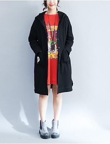 Damen Kapuzenshirt Ausgehen Lässig/Alltäglich Solide Mit Kapuze Unelastisch Polyester Langarm Winter Herbst