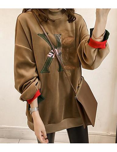 Damen Pullover Alltag Ausgehen Buchstabe Rundhalsausschnitt Baumwolle Polyester Langarm