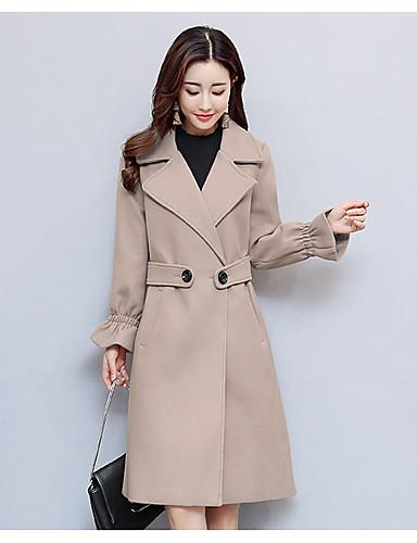 Damen Solide Einfach Ausgehen Lässig/Alltäglich Mantel Winter Herbst Langarm Lang Acryl Polyester