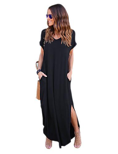 女性用 ストリートファッション コットン パンツ - ソリッド ブラック グレー / マキシ / スリム