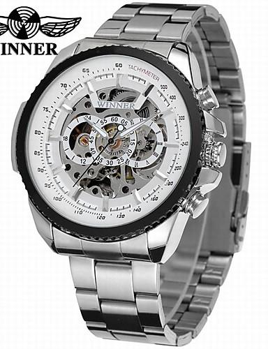 WINNER Férfi Karóra   mechanikus Watch Üreges gravírozás   Menő Rozsdamentes  acél Zenekar Luxus   Vintage   Alkalmi Ezüst   Automatikus önfelhúzós  6387035 ... 283201fd90