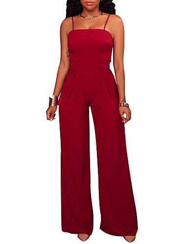 Damen einfarbig Einfach Sexy Overall Breites Bein Hosen