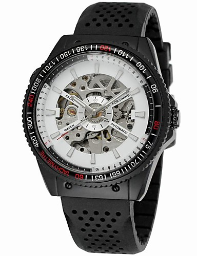 WINNER Męskie Zegarek na nadgarstek / zegarek mechaniczny Hollow Grawerowanie / Nowoczesne Silikon Pasmo Vintage / Na co dzień Czarny / Nakręcanie automatyczne