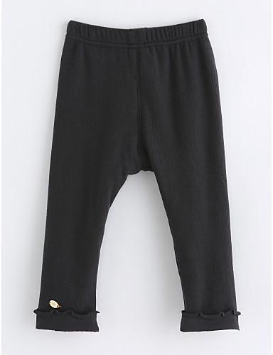Spodnie Bawełna Dla dziewczynek Jendolity kolor Zima Dark Gray