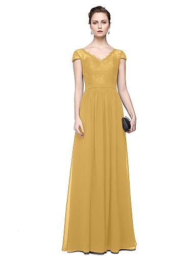 12394e9bbf16c عامودي رقبة V طول الأرض شيفون   دانتيل حفلة رسمية فستان مع إضافات الدانتيل  بواسطة TS Couture®