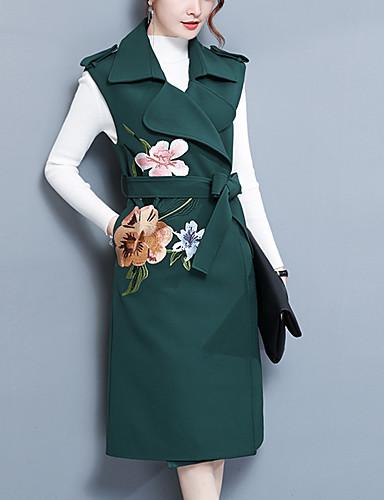 Damen - Blumenmuster Einfach / Freizeit Arbeit / Ausgehen Trench Coat