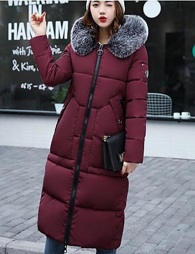 Damen Gefüttert Mantel,Lang Niedlich Street Schick Ausgehen Solide Druck-Polyester Langarm