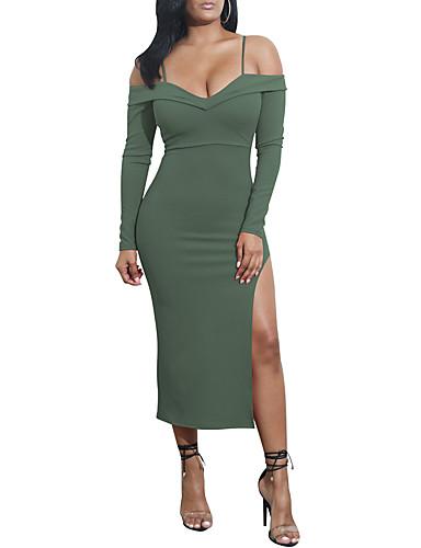Damskie Na co dzień Bodycon Sukienka - Jendolity kolor, Bez pleców Rozcięcie Ramiączka Asymetryczna