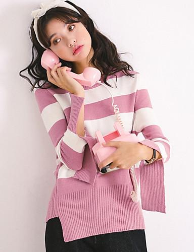 Damen Freizeit Baumwolle Langarm Pullover - Gestreift