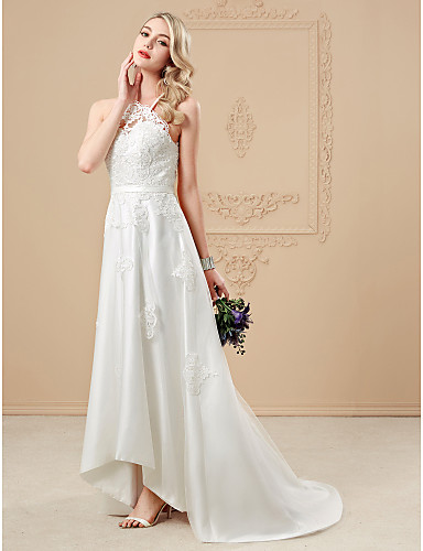 aa498505 A-Line Halter Neck Asymmetrical Tulle / Corded Lace Made-To-Measure Wedding  Dresses with Appliques / Buttons / Sashes / Ribbons by LAN TING BRIDE® /  Open ...