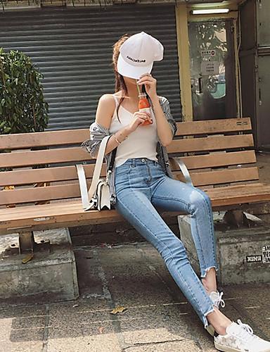 Damen Unelastisch Eng Jeans Hose Solide