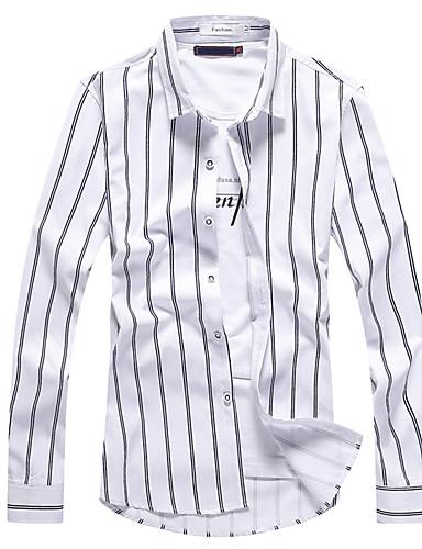 Koszula Męskie Vintage Boho Jendolity kolor Prążki Bawełna