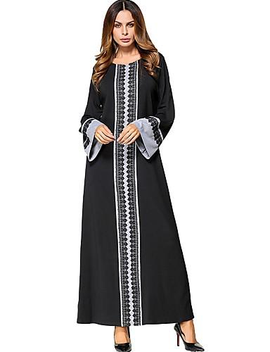 Damen Swing Kleid-Lässig/Alltäglich Solide Druck Rundhalsausschnitt Maxi Langärmelige Polyester Alle Jahreszeiten Mittlere Hüfthöhe