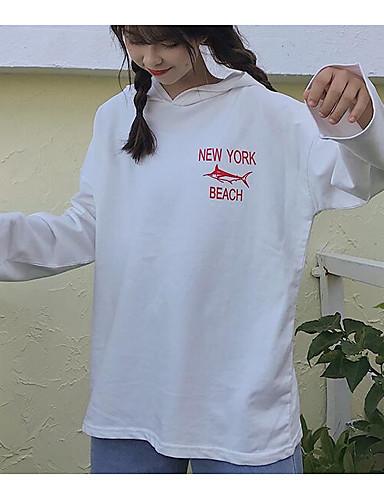 Damen Kapuzenshirt Ausgehen Lässig/Alltäglich Solide Mit Kapuze Baumwolle Langarm Herbst Winter