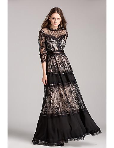 Damen Hülle Kleid Solide Gestreift Knielang Hohe Taillenlinie