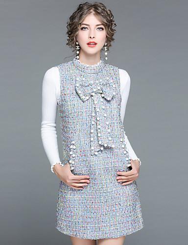 Damskie Sweter Jendolity kolor Textured Stójka Sukienki